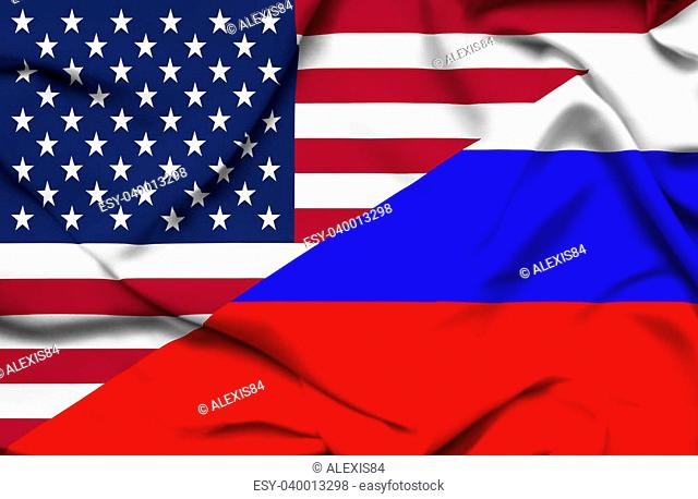 United States of America and Russia waving flag