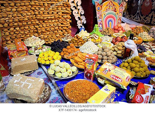 Offerings, in Namgyal Monastery,in Tsuglagkhang complex  McLeod Ganj, Dharamsala, Himachal Pradesh state, India, Asia