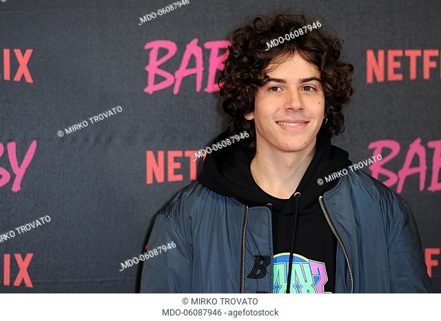 The actor Mirko Trovato attends the presentation of the new Netflix series Baby, directed by Andrea De Sica and Anna Negri, at the Giulio Cesare cinema