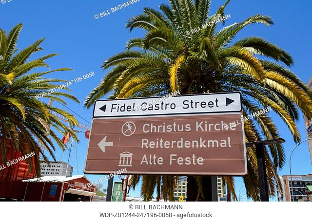 Namibia Africa Windhoek sign for Fidel Castro Street near Independence Avenue downtown in Capitol city clean and active