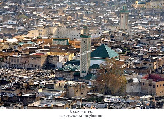 View of the Kairaouine Mosque from above, Fes Morocco