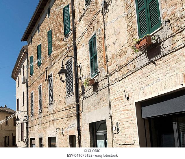 Corinaldo (Ancona, Marches, Italy): the historic town at morning. Street