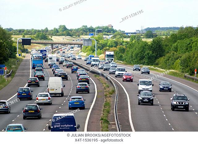 traffic builds up on a motorway