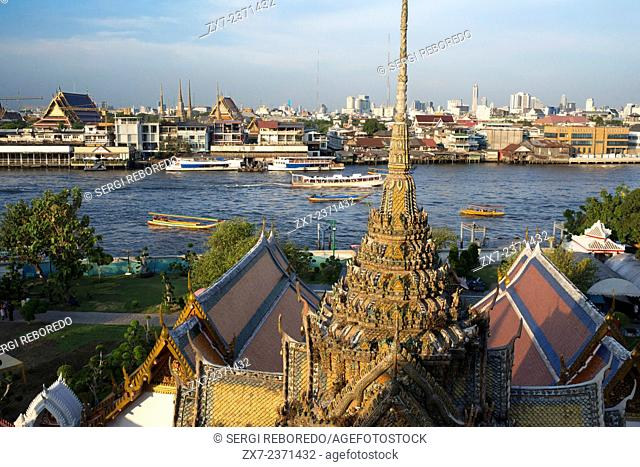 Landscape in sunset of Chao Praya River from Wat Arun Temple. Bangkok. Thailand. Asia. Wat Arun, locally known as Wat Chaeng