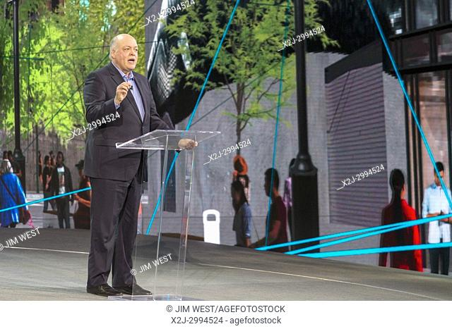 Detroit, Michigan - Jim Hackett, President and CEO of Ford Motor Co. , speaks at the North American International Auto Show