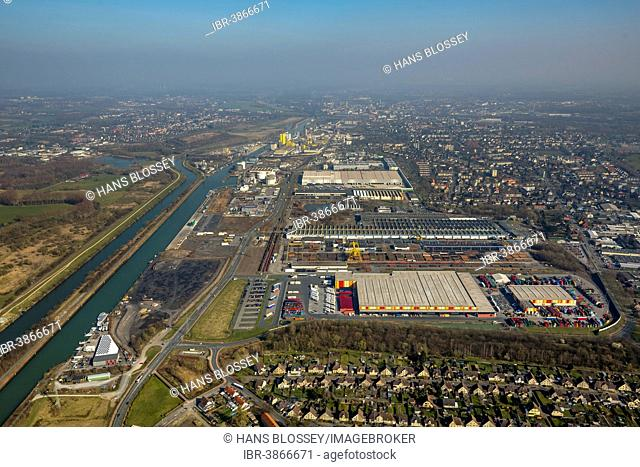 Port of Hamm, Datteln-Hamm Canal, Commercial Area, industrial park, Hamm, Ruhr Area, North Rhine-Westphalia, Germany