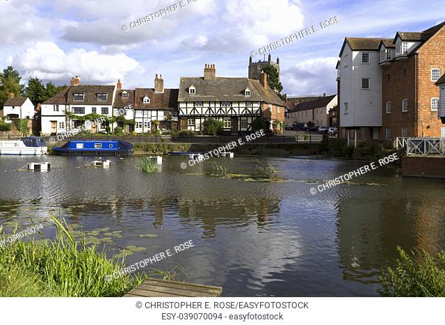 Picturesque riverside cottages in Tewkesbury, Gloucestershire, Severn Vale, UK
