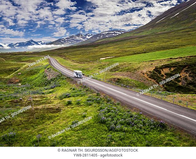 Camper driving on Route One or The Ring Road, Eyjafjordur, Northern Iceland
