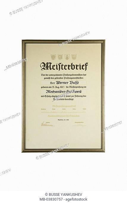 Picture frames, master letter, 'mechanics',   no property release,  Document, certificate, award, occupation, craft, skilled trade, master craftsmen