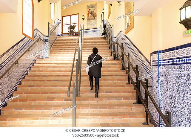 -Woman upstairs in Bullfighting place- Alicante (Spain)