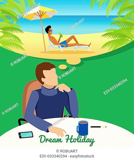 Dream holiday concept. Man in blue sweater sitting at the table and dreaming about vacation on the beach. Concept of big dreams