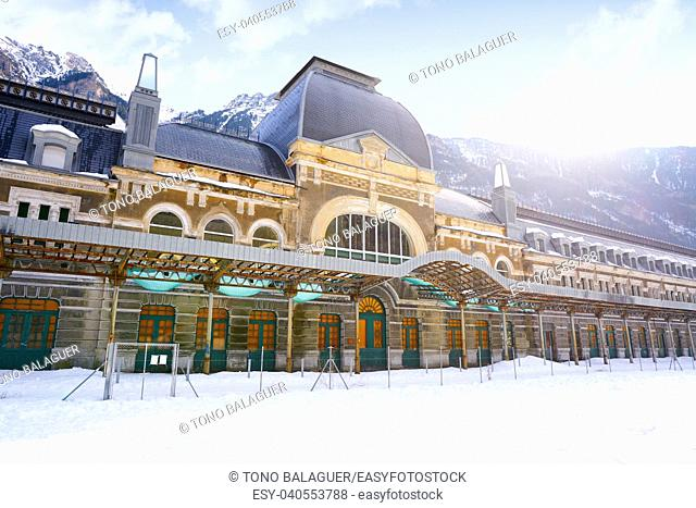 Canfranc train station in Huesca on Pyrenees at Spain