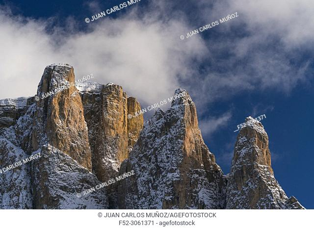 Sella Towers, Sella Pass, Dolomites, Unesco World Heritage Site, Italy, Europe