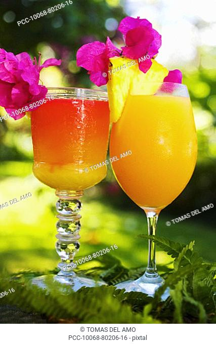 Two tropical drinks garnished with fruit in an outdoor setting