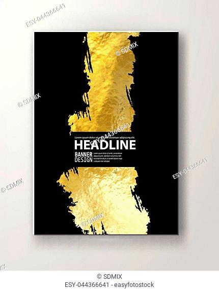 Vector Black and Gold Design Templates for Brochures, Flyers, Mobile Technologies, Applications, Online Services, Typographic Emblems, Logo