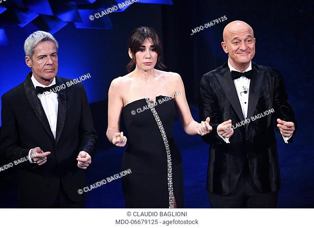 Virginia Raffaele, Claudio Baglioni and Claudio Bisio at the first evening of the 69th Sanremo Music Festival. Sanremo (Italy), February 5th, 2019