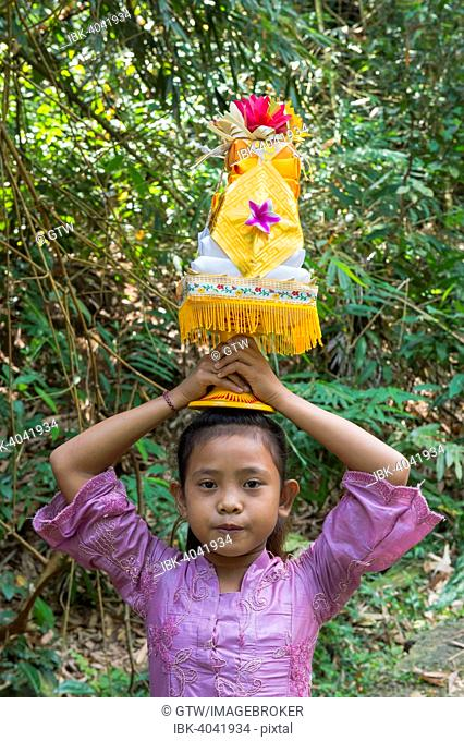 Girl on the way to the temple, carrying offerings for a ceremony on her head, Bali, Indonesia