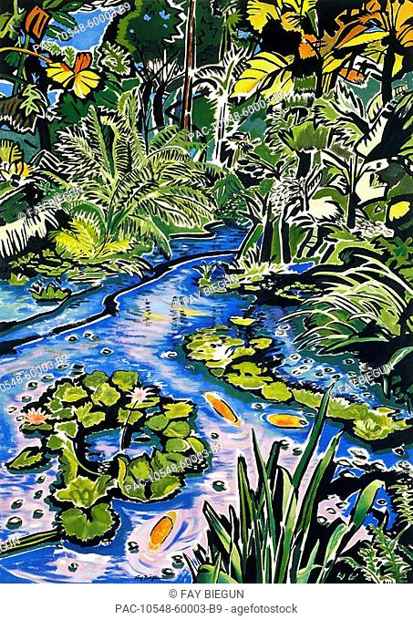 Koi Pond, Big Island, Hamakua Coast, Hawaiian Botanical Tropical Gardens, Koi fish in flowing stream Oil painting
