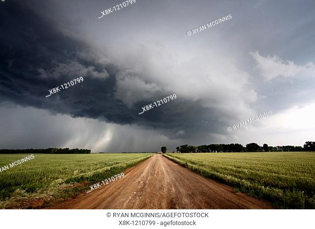 A dirt road leads into the arcus cloud of a severe thunderstorm in northern Oklahoma, May 12, 2010