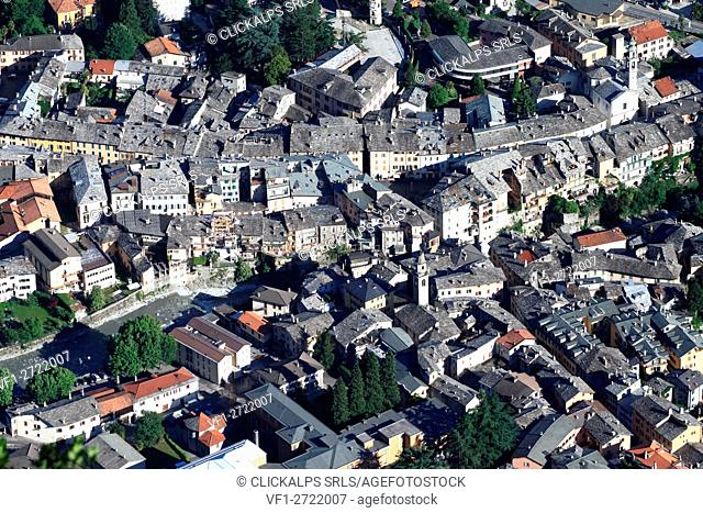 Aerial view of the town center of Chiavenna chief town of Valchiavenna. Lombardy. Italy. Europe