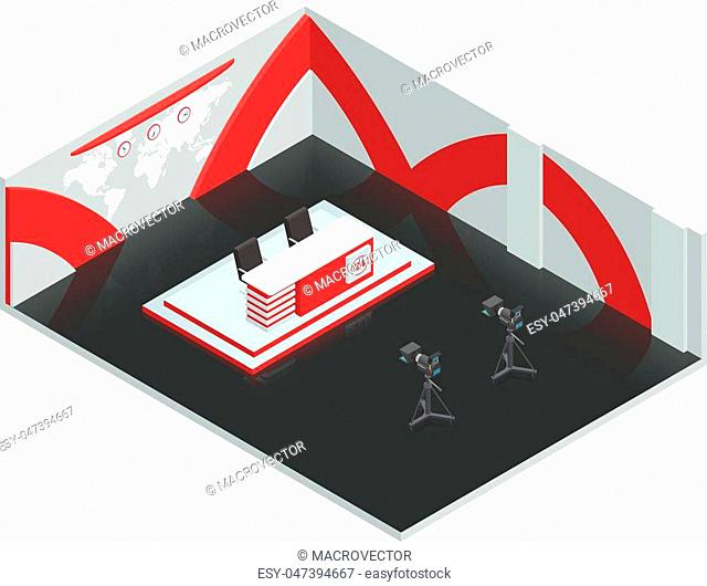 Video tv broadcast studio isometric interior composition with live news room environment newscasters table and cameras vector illustration