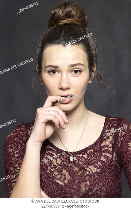 Young woman studio natural beauty portrait