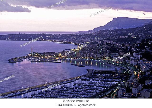France, Europe, Menton, Alpes-Maritimes, Cote d'Azur, Mediterranean sea, Coast, Europe, Panorama, Port Garavan, Vieux