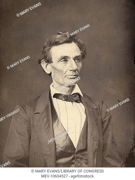 Abraham Lincoln, presidential candidate, head-and-shoulders portrait, facing slightly right. Photo shows Lincoln in a print made from a negative taken by...