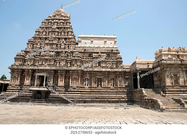View of shrine and entrance to the mukha-mandapa on the right, Airavatesvara Temple, Darasuram, Tamil Nadu, India. View from South