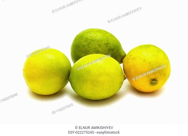Four lemons isolated on the white background