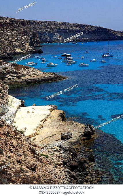 Tabaccara bay in Lampedusa, Sicily, Italy