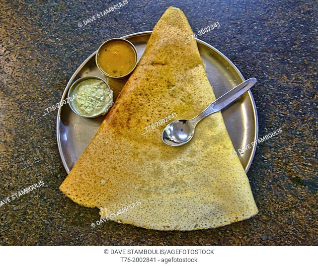 masala dosa, one of the top food's of southern Indian cuisine in Kerala, India
