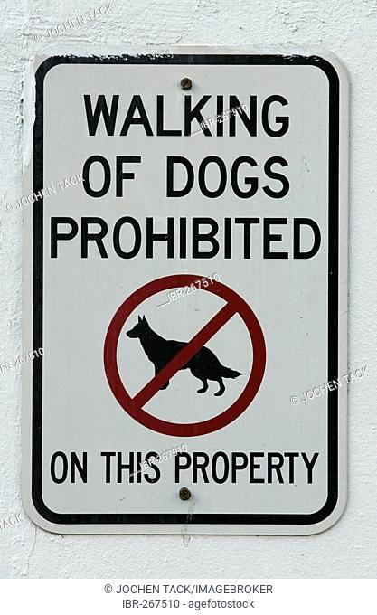 Sign prohibits dog walking, Miami Beach, Florida, USA