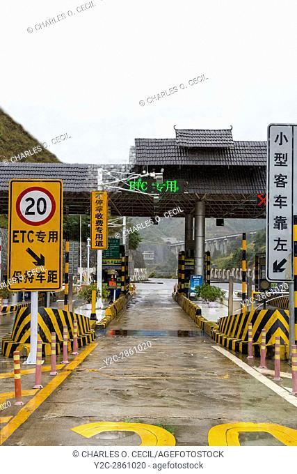 Guizhou, China. Modern Highway in Guizhou Province. Approaching Toll Booth