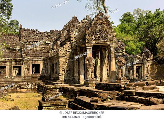 Western Gopuram in the third circle of walls, headless dvarapalas, Preah Khan Temple, Angkor, Siem Reap Province, Cambodia