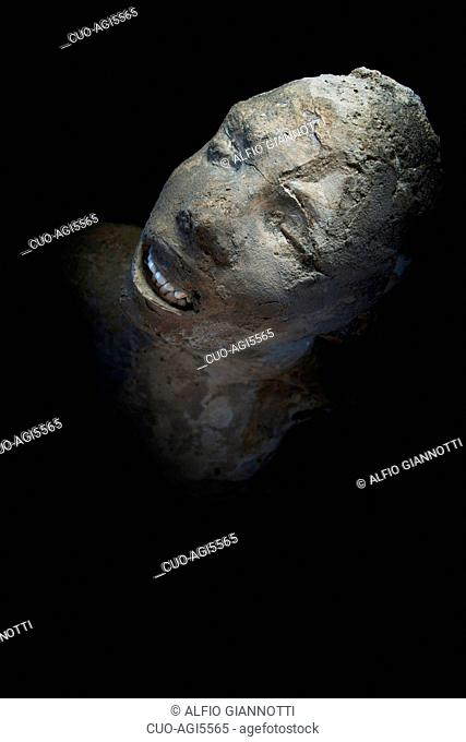 Restoration of the plaster cast of a victim of the eruption of Vesuvius, archaeological site of Pompei, UNESCO World Heritage Site, Campania, Italy, Europe