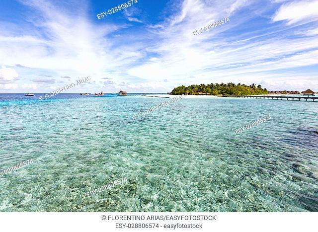 """Panoramic view of an Atoll, from one of the """"""""water villages"""""""", Maldives"""