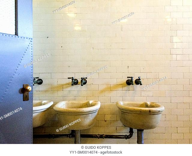 New York City, New York, USA. Wash bassin in the dormitory on Ellis Island Museum of Immigration