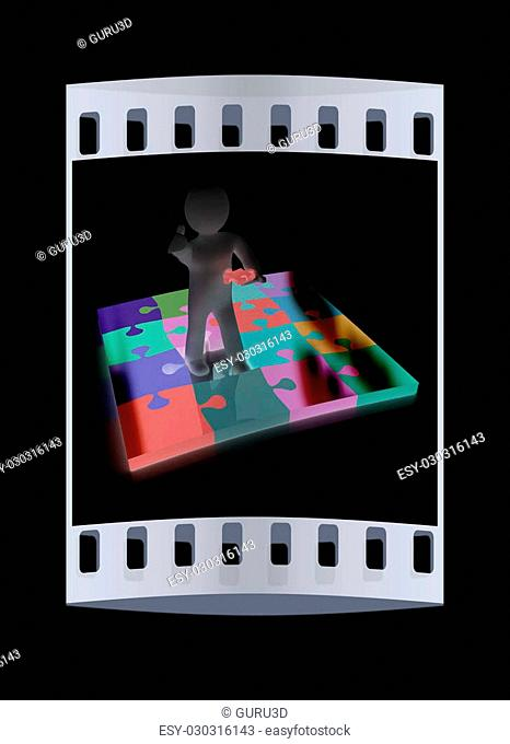 3d people - missing piece - jigsaw. 3d render. The concept of niche on a black background. The film strip
