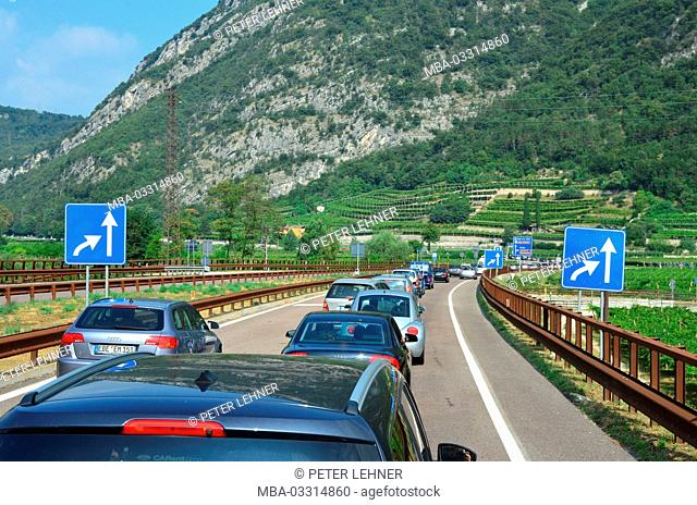 Italy, Trentino, country road, traffic jam, holiday traffic