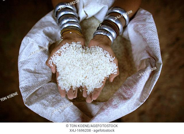 Closeup of a handful of rice held by a Longneck girl Approximately 300 Burmese refugees in Thailand are members of the indigenous group known as the Longnecks...