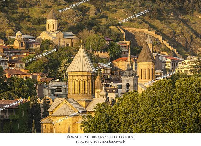 Georgia, Tbilisi, Old Town, high angle view, dawn