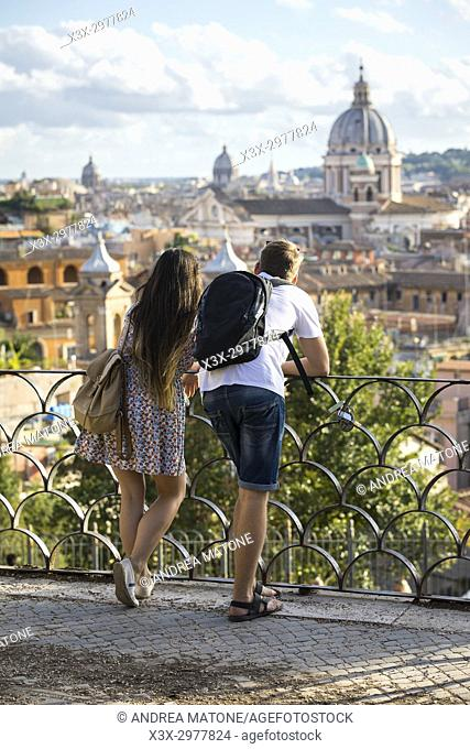Tourists admiring the view. Rome, Italy