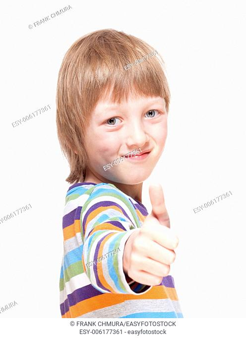 Boy with Blond Hair Showing Thumbs Up Hand Sign - Isolated on White