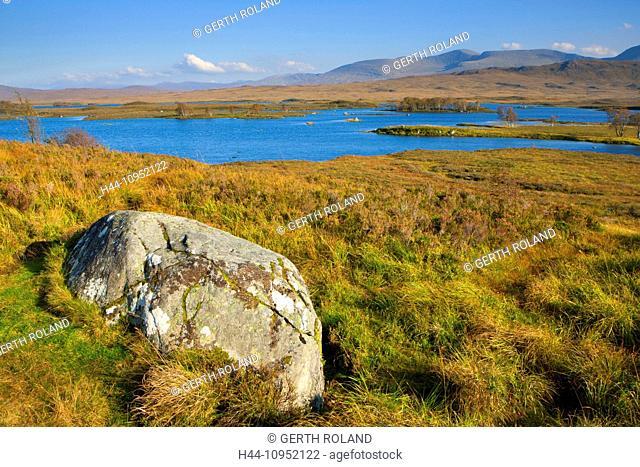 Rannoch moor, Great Britain, Europe, Scotland, highland, moor, lake, water, autumn