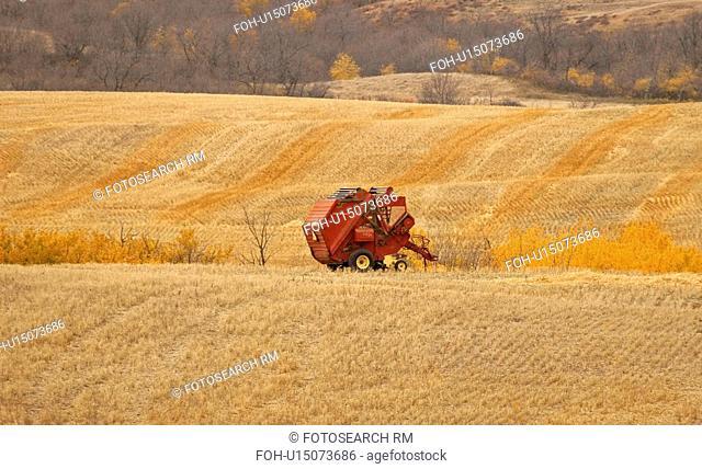 finished, left, baling, harvest, field, baler