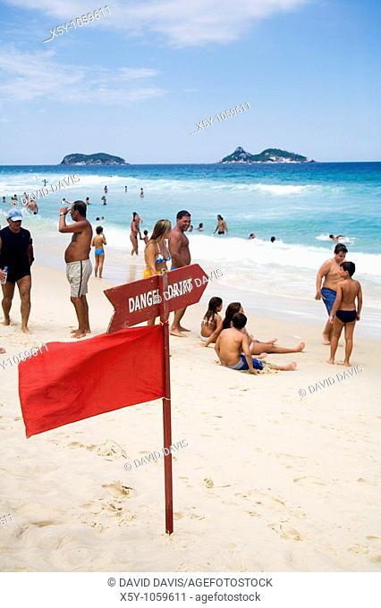 Danger Drift sign on Barra da Tijuca Beach in Rio de Janeiro in Brazil