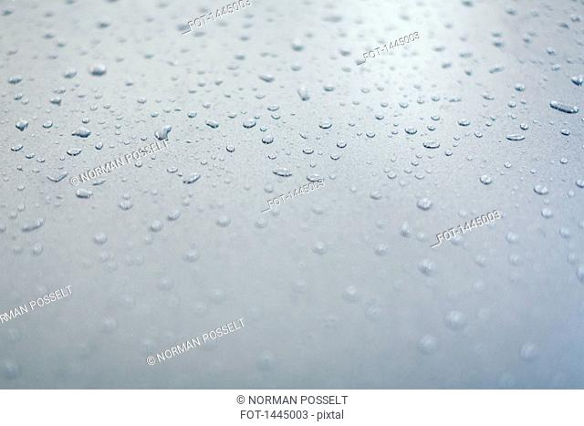 Close-up of water drops on a gray surface