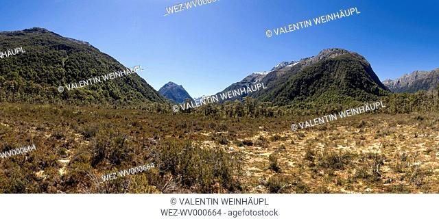 New Zealand, South Island, Fiordland National Park, Hills at Milford Sound