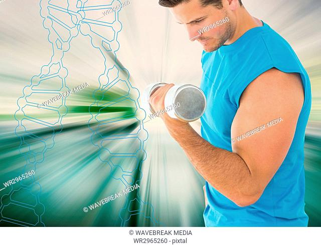 man lifting weigth with outline of dna chain and white and green background